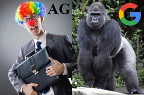 Clown lawyer AG v. 800-pound gorilla Google G.