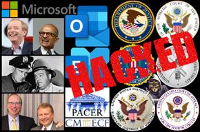 Microsoft logo, Brad Smith photo, Satya Nadella photo, Abbott and Costello cops photo, Davison Douglas and David Novak photo, Outlook logo, Exchange logo, PACER logo, CM/ECF logo, hacker, federal law seals, HACKED.