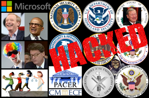 Microsoft logo, Brad Smith photo, Satya Nadella photo, blindfolded clown lawyer photo, James Duff photo, blind leading blind justice off a cliff, hacker, federal seals, PACER logo, CM/ECF logo, HACKED.