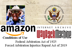 Cowboy-hatted goggled Amazon head Jeff Bezos photo, Western District of Washington U.S. District Court seal, U.S. Constitution Article III (judicial system) photo, Amazon logo, Conditions of Use, Internet Archive Wayback Machine logo, Arbitration Acts.